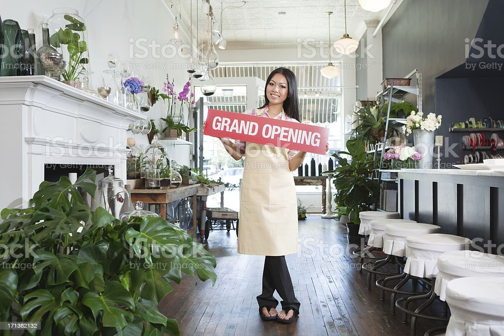 Grand Opening Ceremony for Asian Flower Shop Small Business Owner royalty-free stock photo