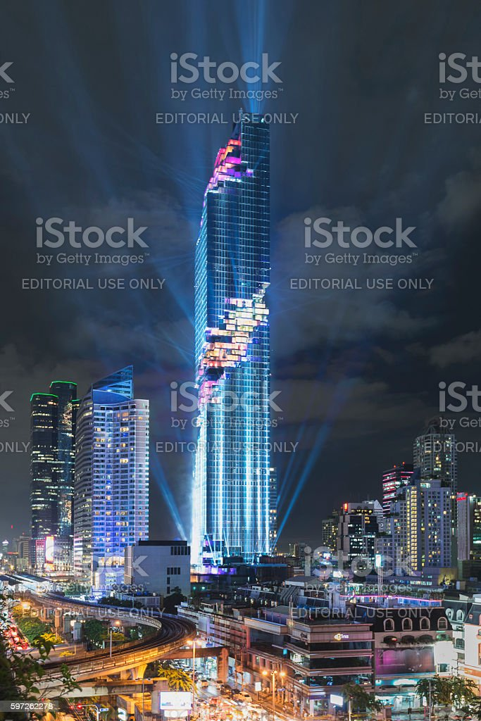 Grand Opening event of MahaNakhon, new tallest building of Thailand stock photo