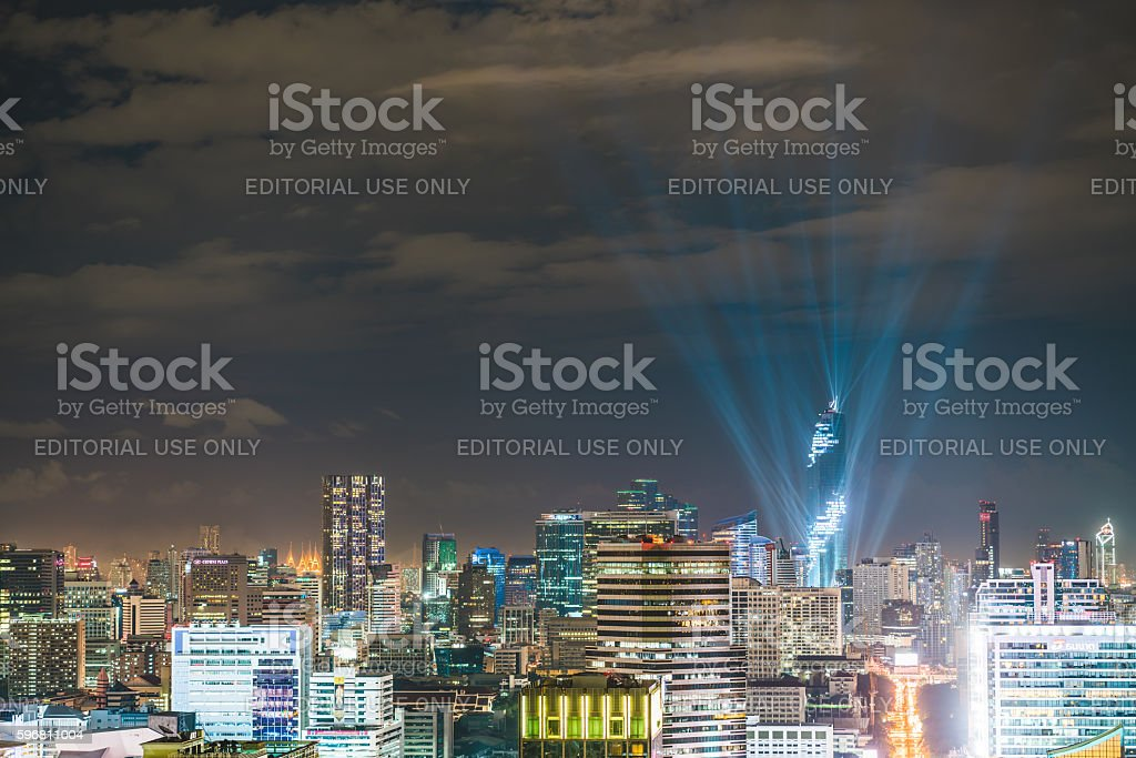 Grand opening lightshow event of Mahanakhon tower, tallest building Thailand stock photo