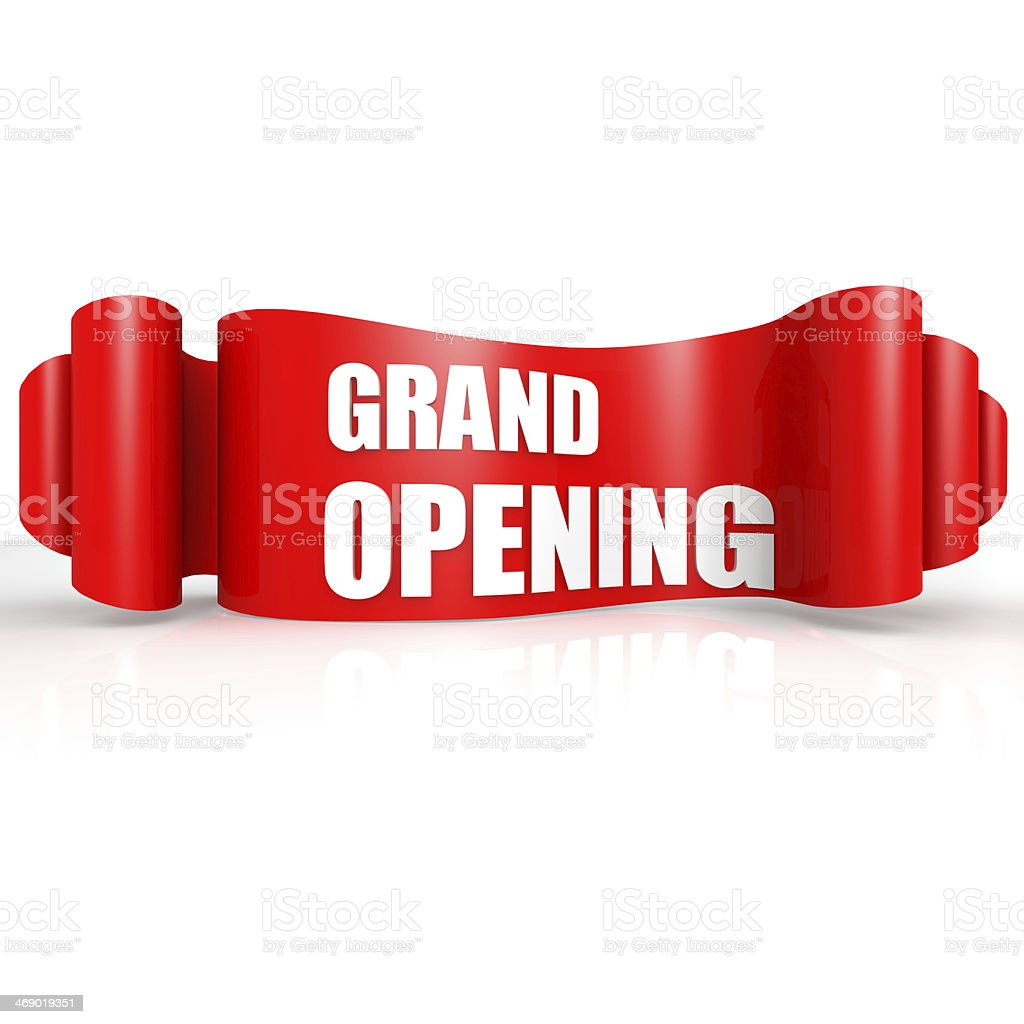 Grand opening red wave ribbon stock photo