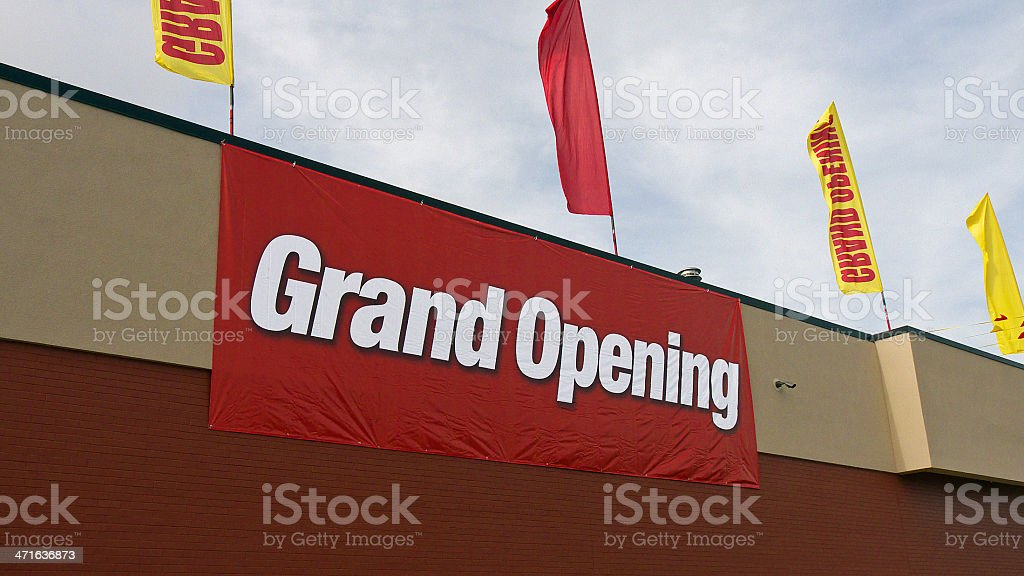 Grand opening sign. stock photo