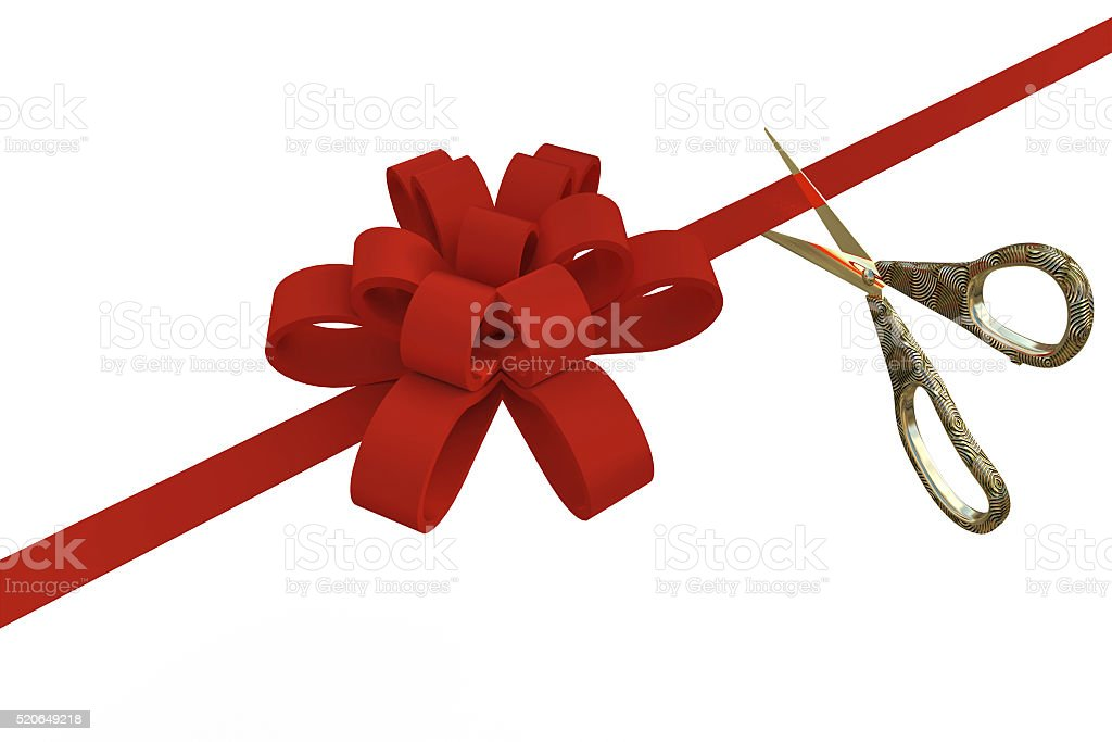 Grand Opening with scissors and a red ribbon, 3d stock photo