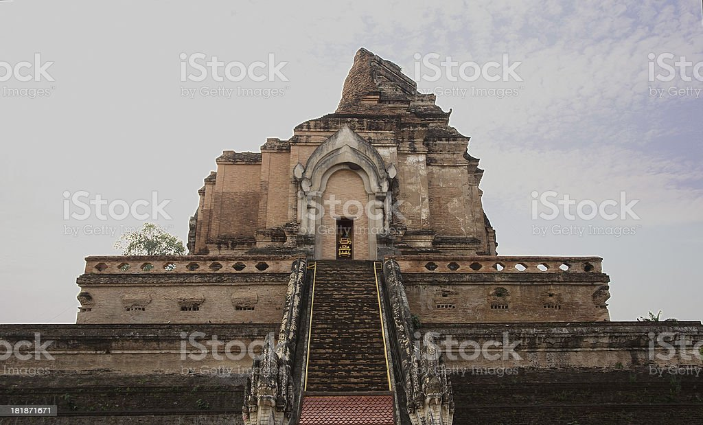 Grand pagoda in the temple of Wat Chedi Luang, Chiengmai stock photo