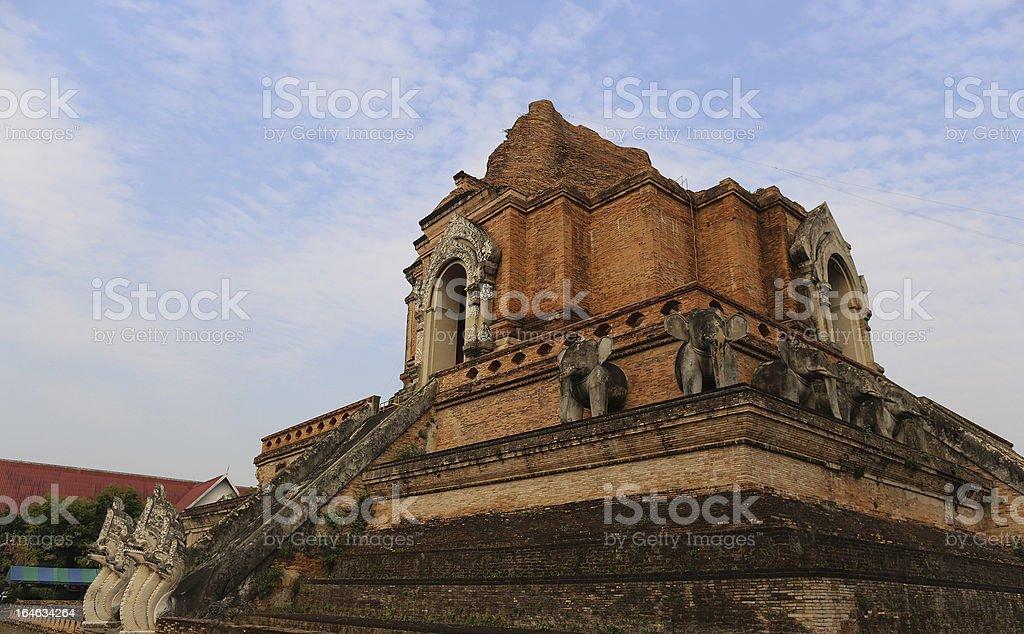 Grand pagoda in Wat Chedi Luang, Chiang mai stock photo