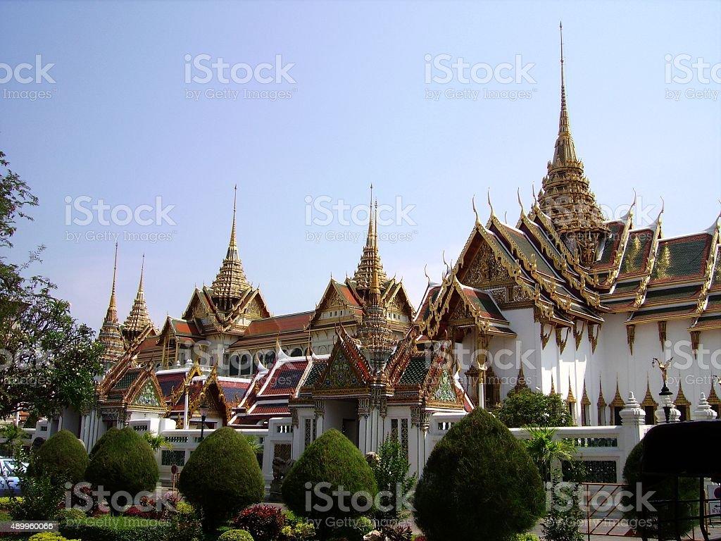 Grand palace and ornamental garden in Bangkok, Thailand stock photo