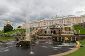 Grand Palace and park in Peterhof, St. Petersburg