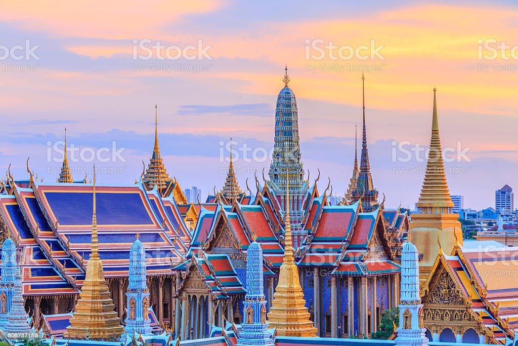 Grand palace and Wat phra keaw at sunset bangkok, Thailand stock photo