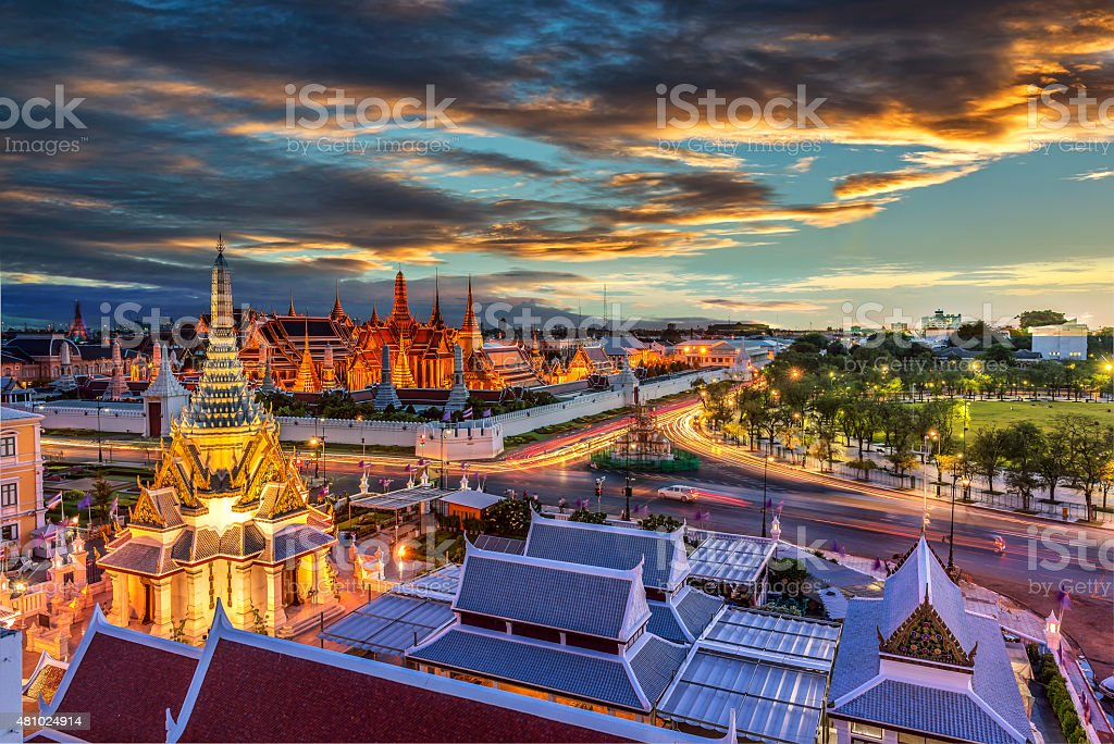 Grand palace and Wat phra keaw at sunset stock photo
