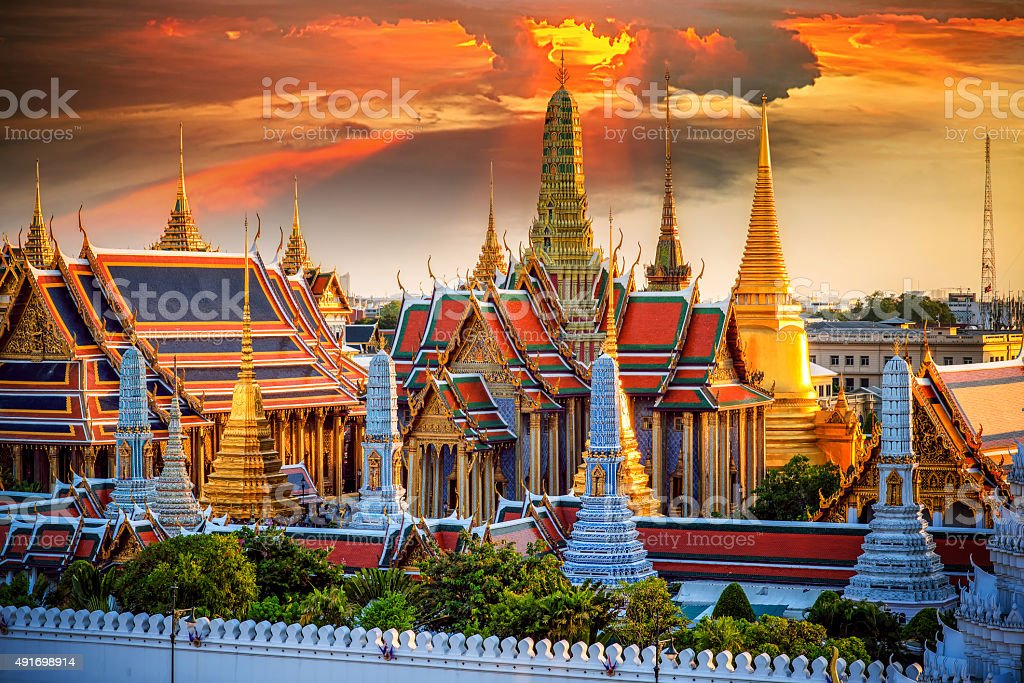 Grand palace and Wat phra keaw stock photo