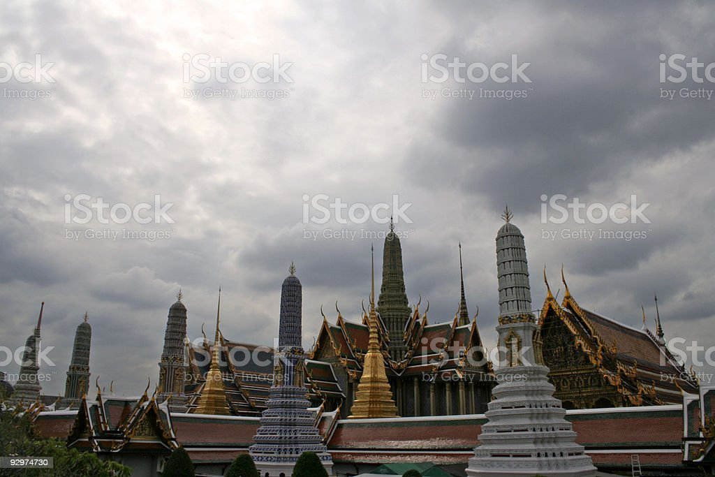 grand palace bangkok overcast sky royalty-free stock photo