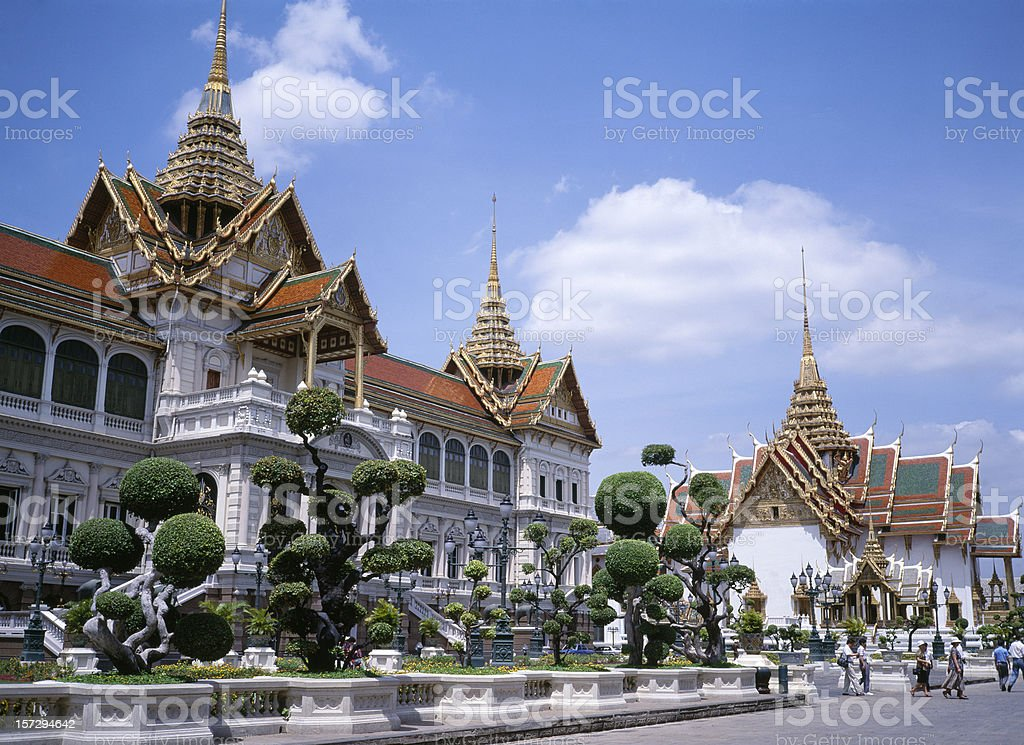 Grand Palace in Bangkok against clear blue sky stock photo