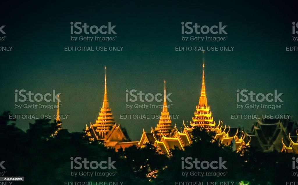 Grand Palace Night Skyline Bangkok stock photo