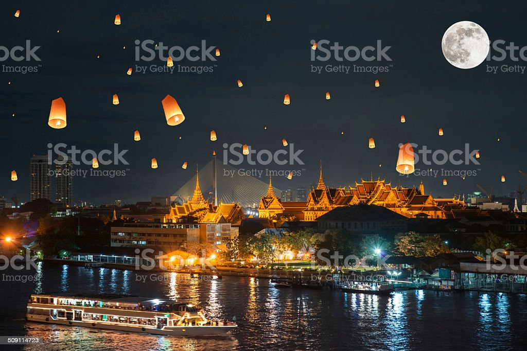 Grand palace under loy krathong day ,Thailand stock photo