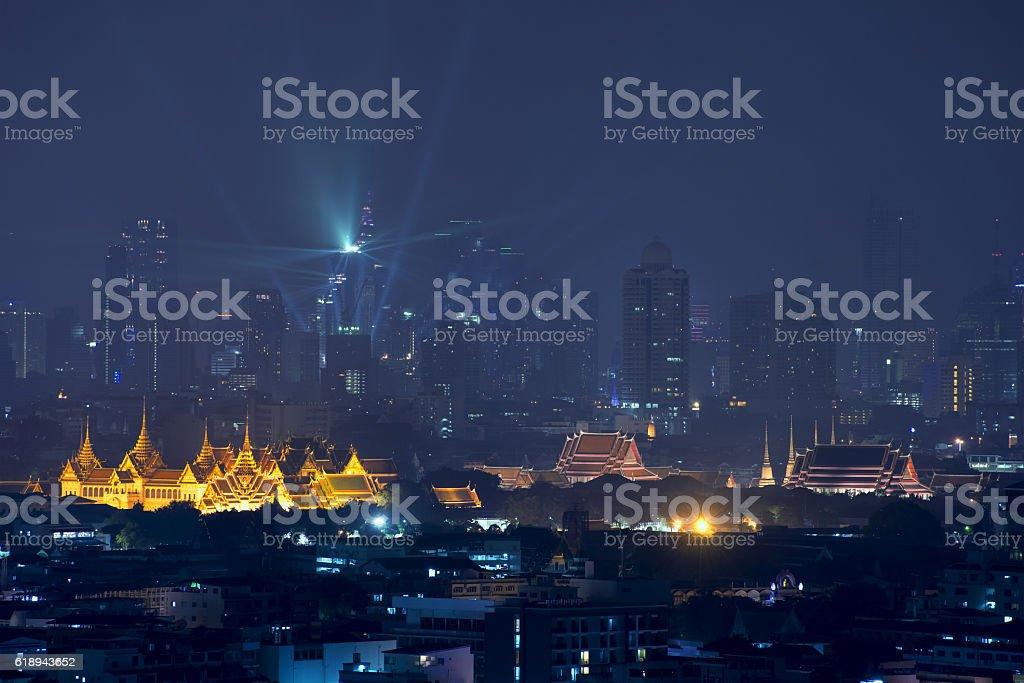 Grand palace with Bangkok city at night in Bangkok,Thailand stock photo