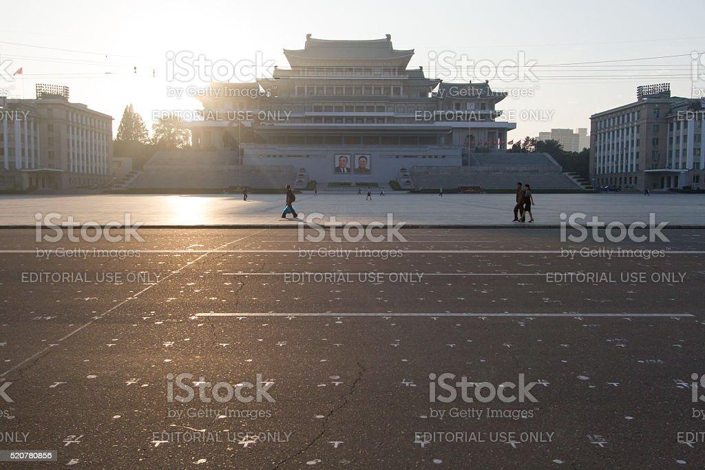 Grand People's Study House & Kim Il-sung Square stock photo