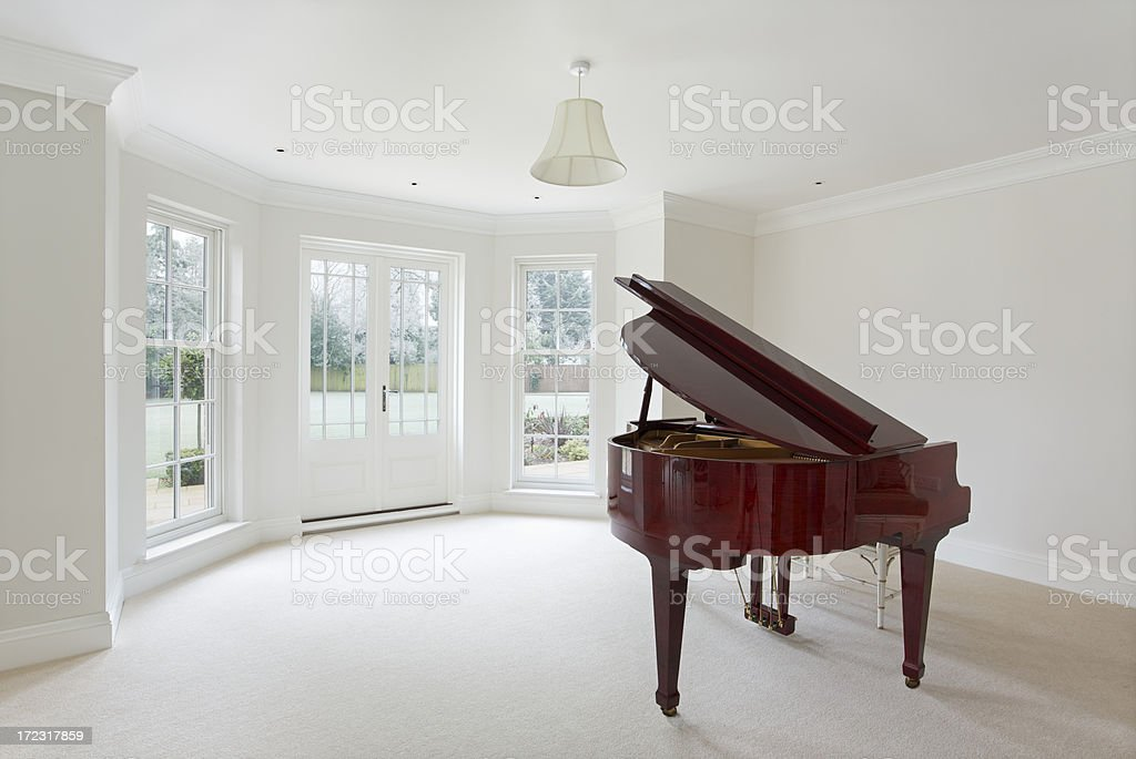 grand piano and living room stock photo