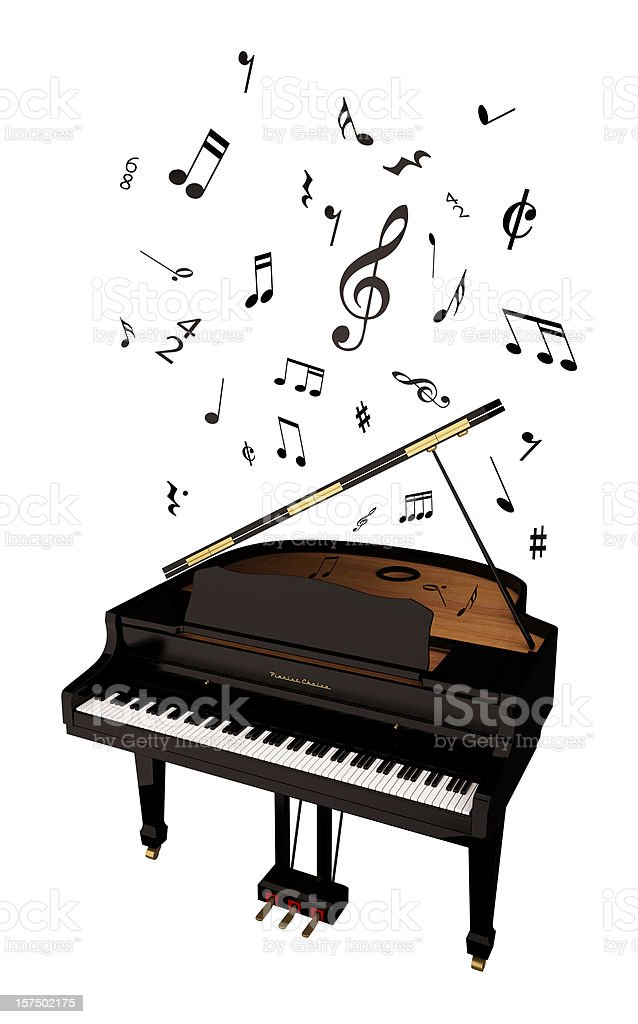 Grand Piano and Music Notes royalty-free stock photo