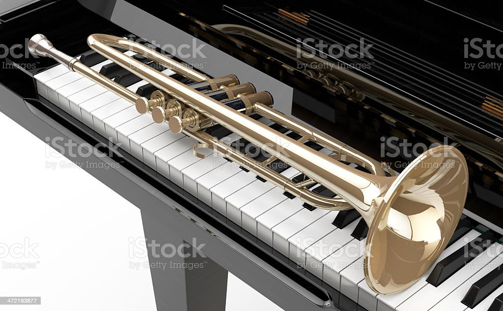 Piano de cola y Trompeta royalty-free stock photo