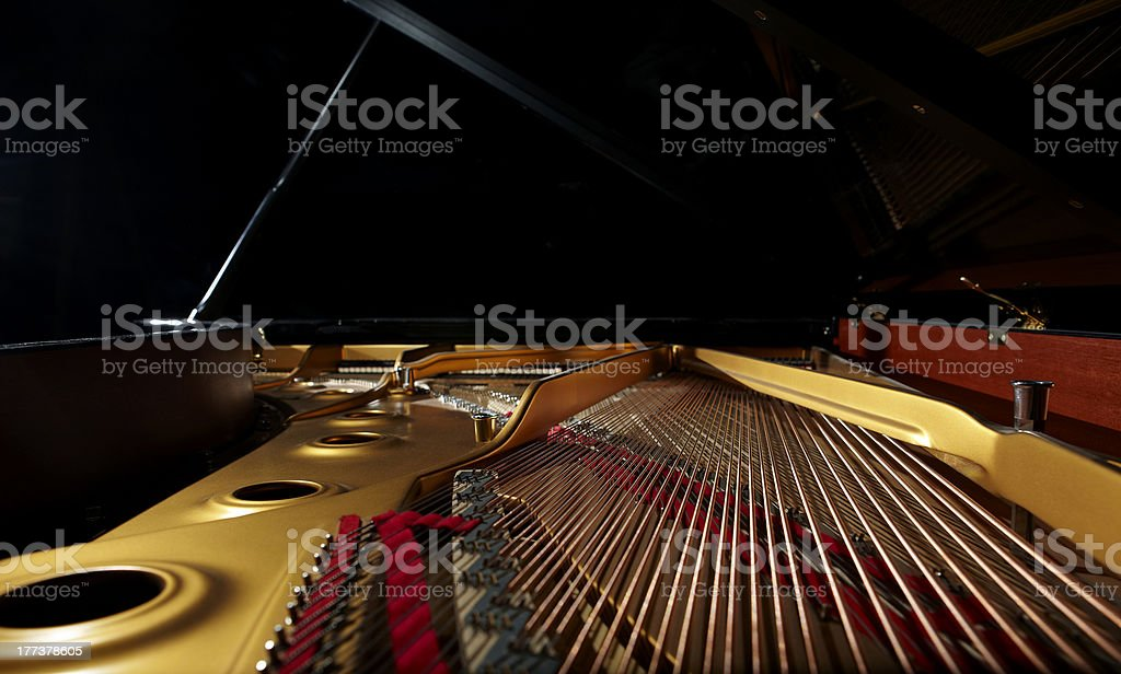 grand piano from inside stock photo