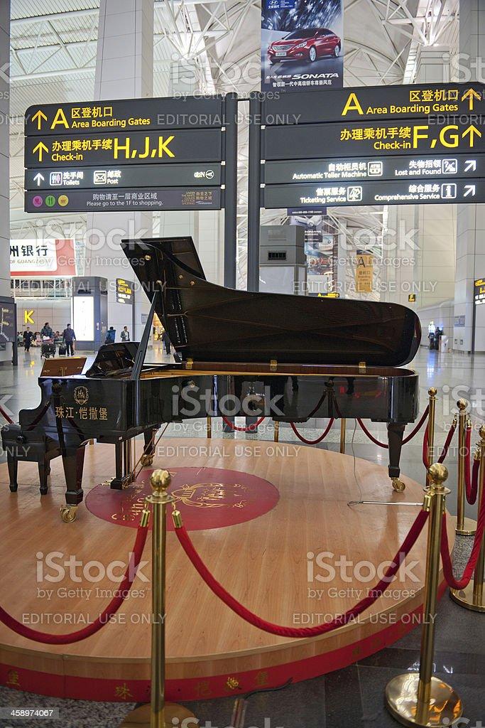 Grand Piano in Guangzhou Baiyun International Airport China royalty-free stock photo