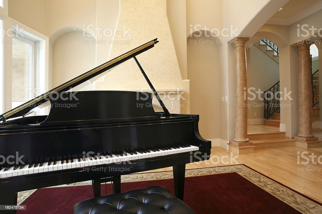 Grand Piano in Luxury Living Room royalty-free stock photo