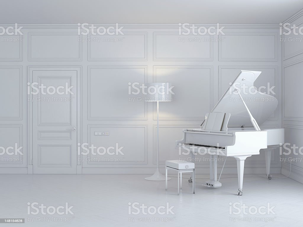 grand piano in white interior stock photo
