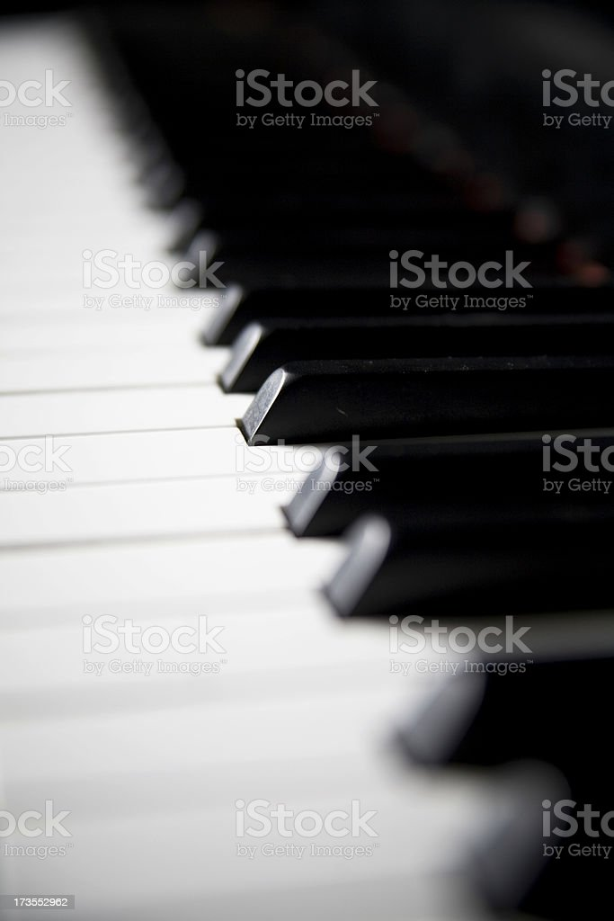 Grand Piano Keys Selective Focus and Copy Space stock photo