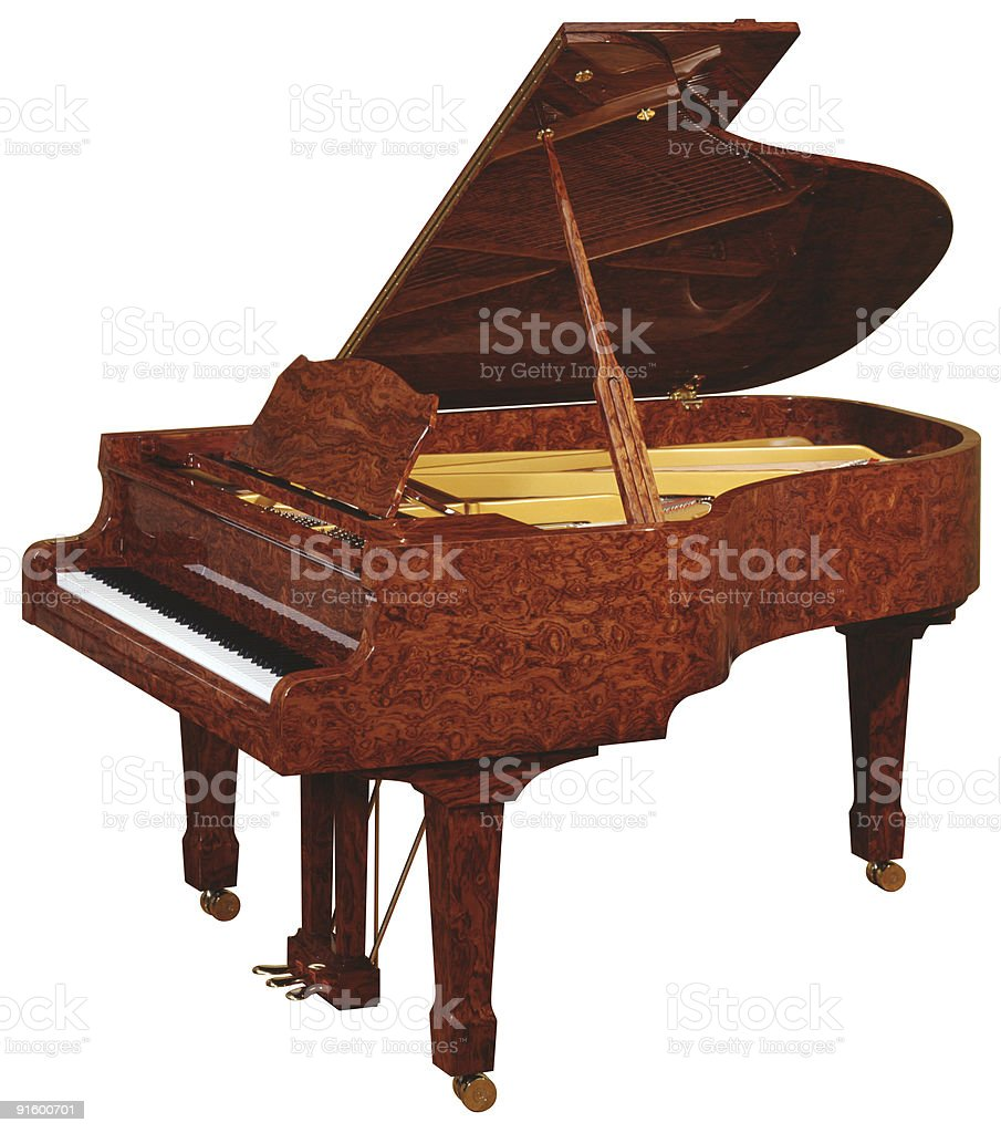 Grand piano on white royalty-free stock photo