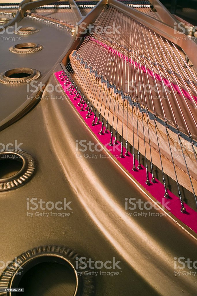 Grand Piano Soundboard and Strings Close-Up royalty-free stock photo