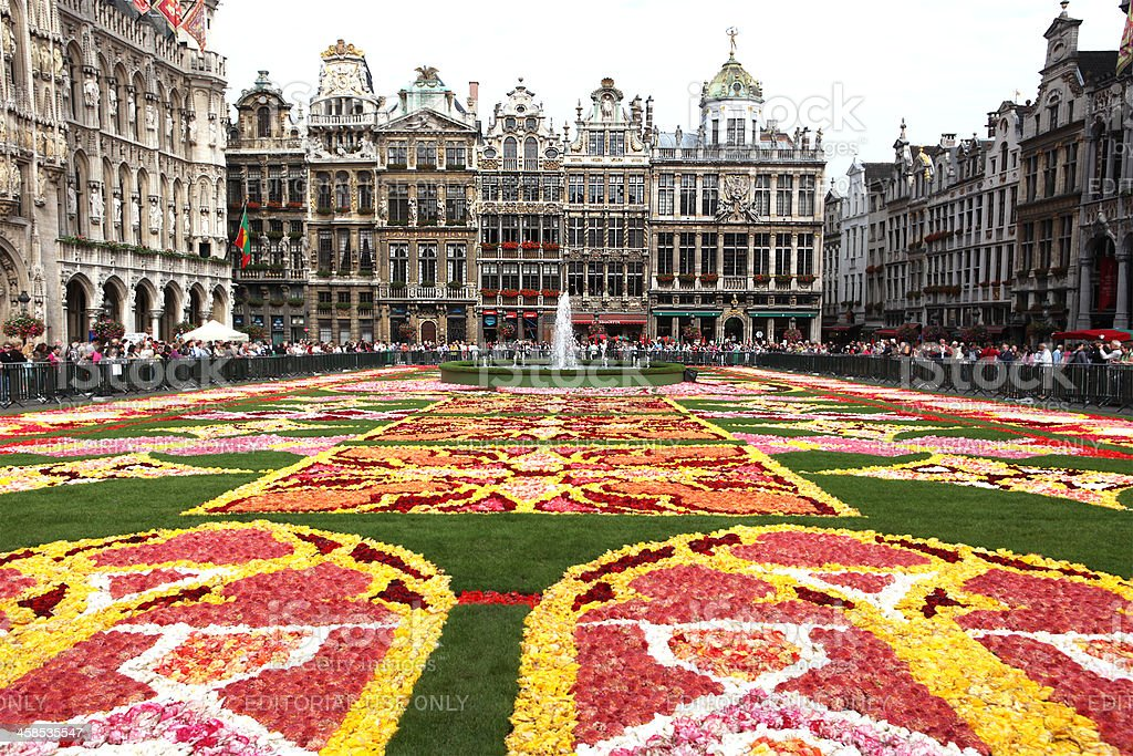 Grand Place Brussels Flower Carpet 2010 stock photo