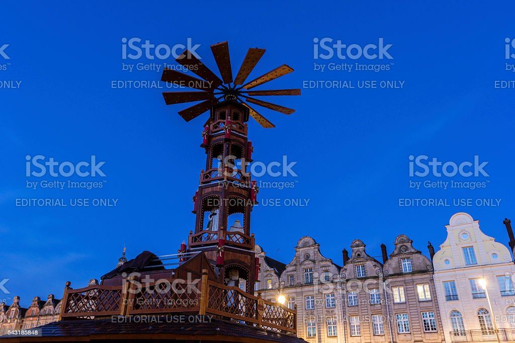 Grand Place during Christmas in Arras in France stock photo