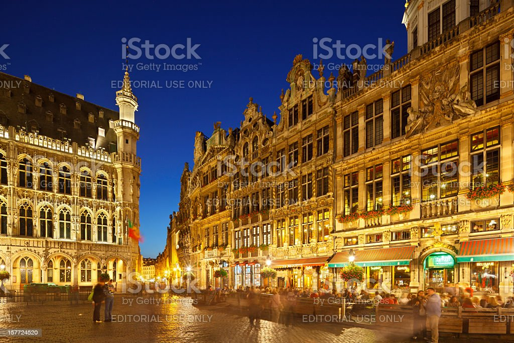 Grand Place In Brussels At Night stock photo