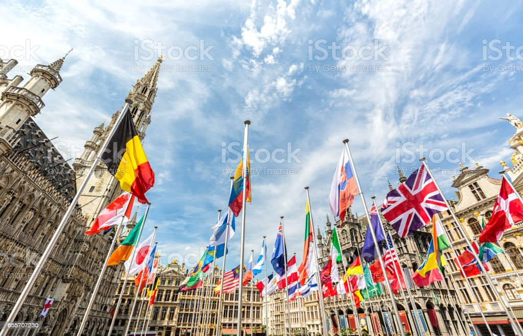 Grand Place in Brussels on the National Day stock photo