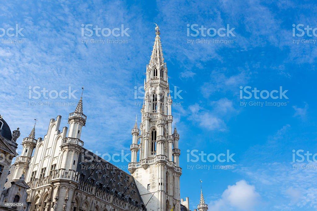 Grand place in Brussels,Belgium with blue sky stock photo