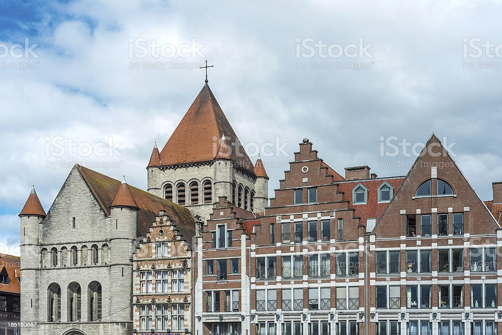 Grand Place of Tournai in Belgium stock photo