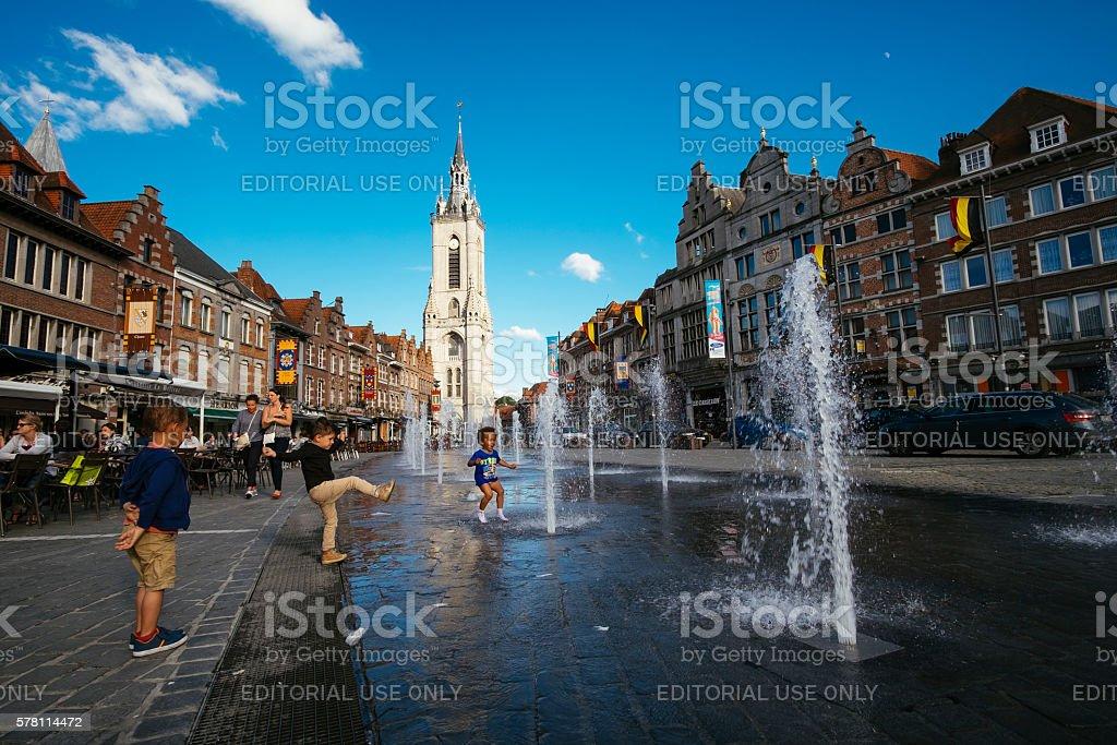 Grand Place of Tournai stock photo