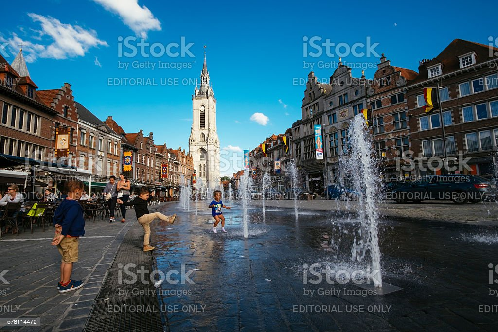 Grand Place of Tournai stock photo