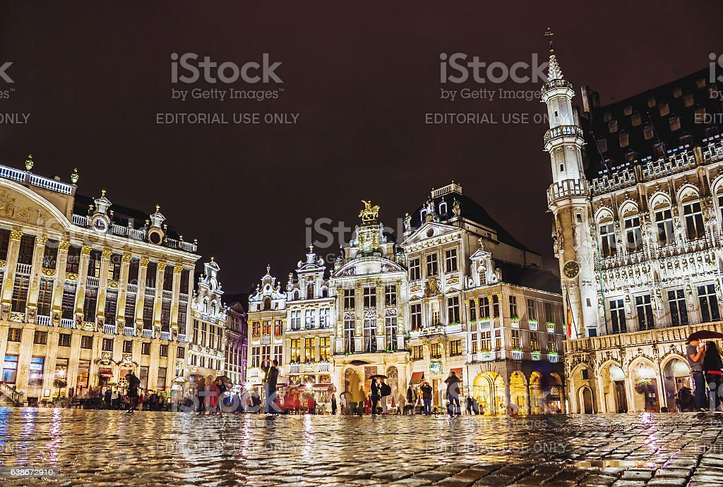 Grand Place - the main square in Brussels at night stock photo