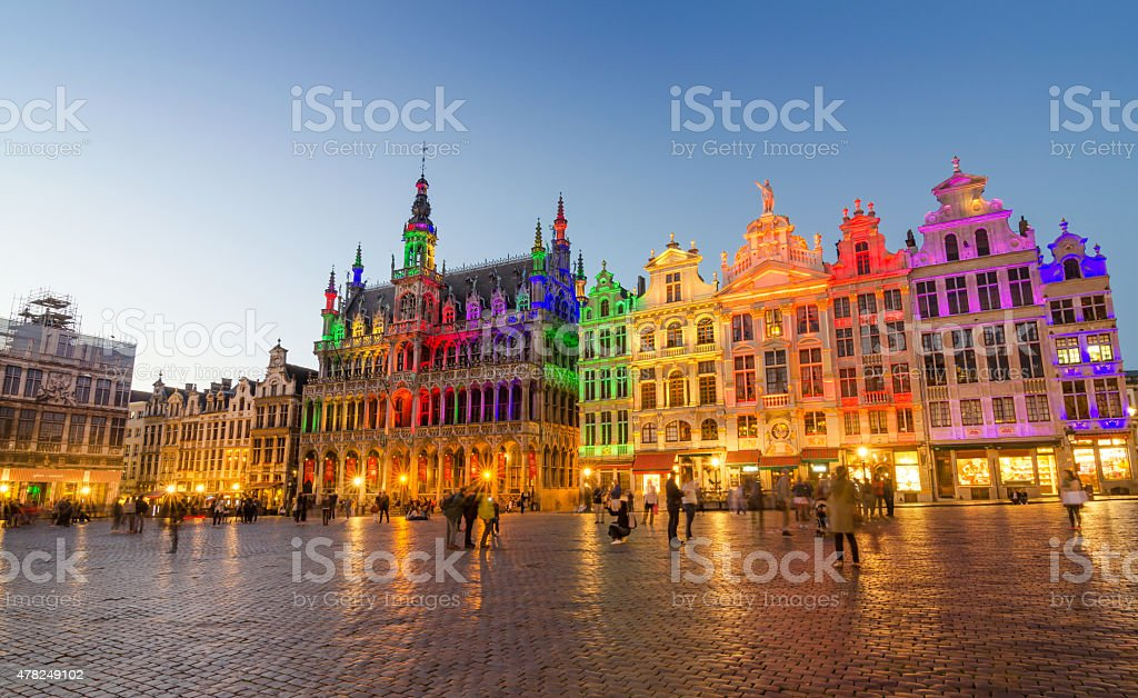 Grand Place with colorful lighting at Dusk in Brussels. stock photo