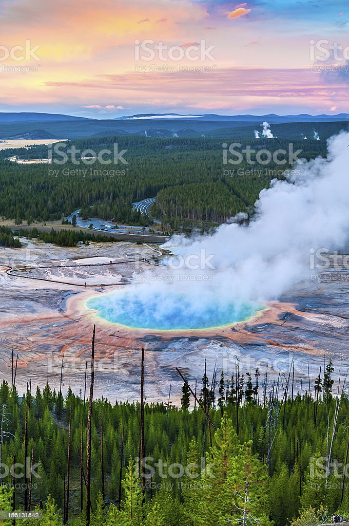 Grand Prismatic Geyser from above royalty-free stock photo