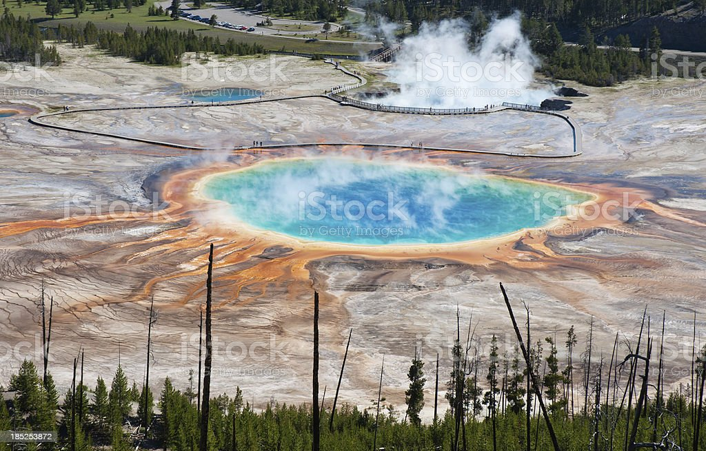 Grand Prismatic Hot Spring in Yellowstone Park stock photo