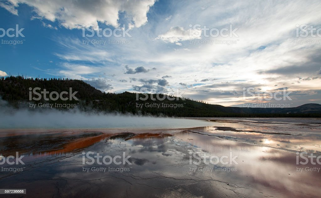 Grand Prismatic Spring at sunset Yellowstone National Park Wyoming USA stock photo