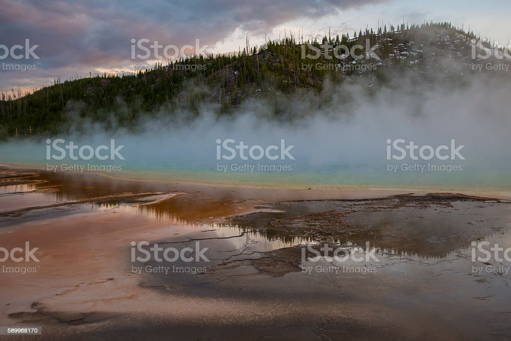Grand Prismatic Spring at Yellowstone National Park stock photo