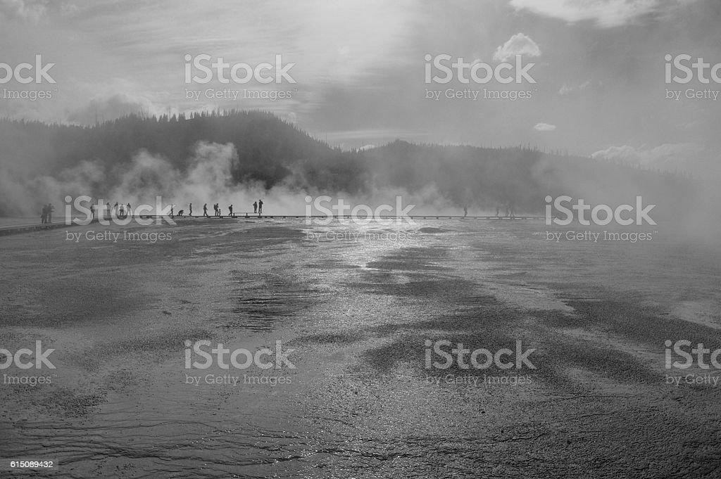 Grand Prismatic Spring in black and white stock photo