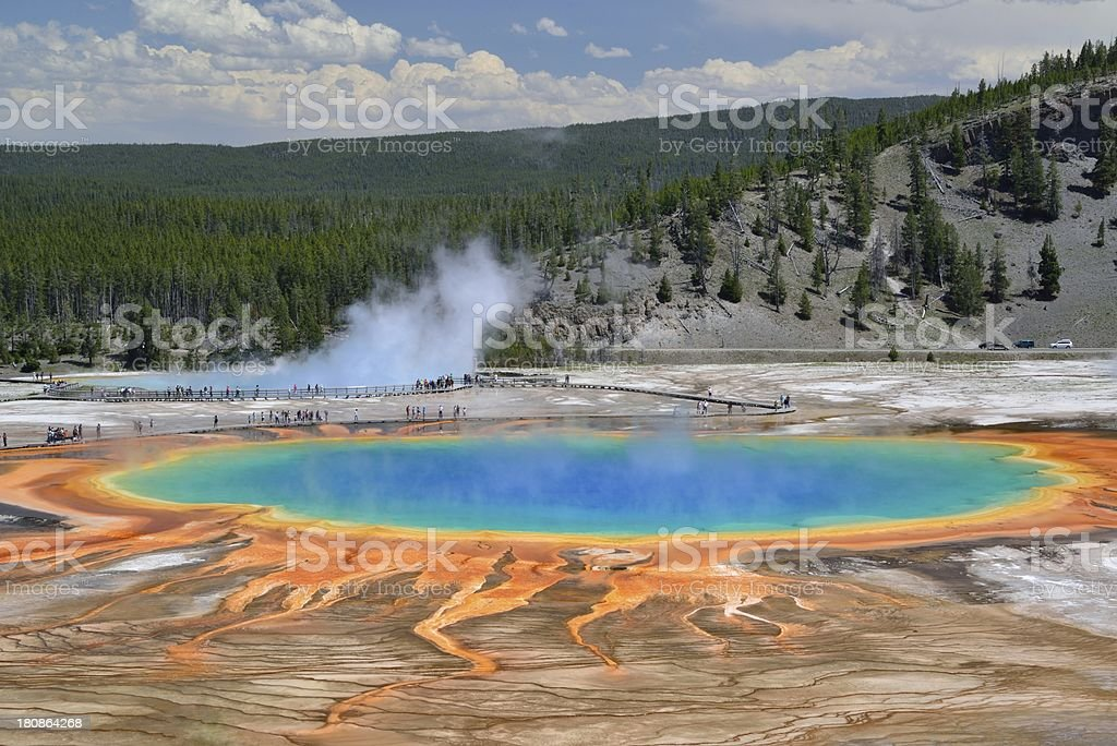 Grand Prismatic Spring in Yellowstone National Park stock photo