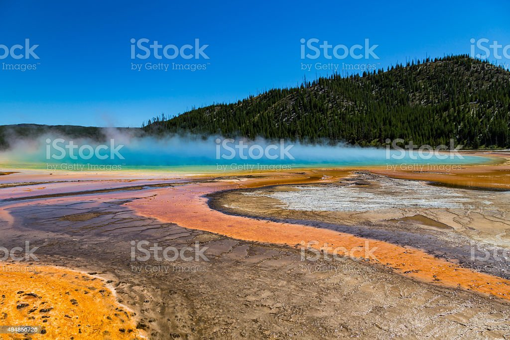 Grand Prismatic Spring in Yellowstone National Park, USA stock photo