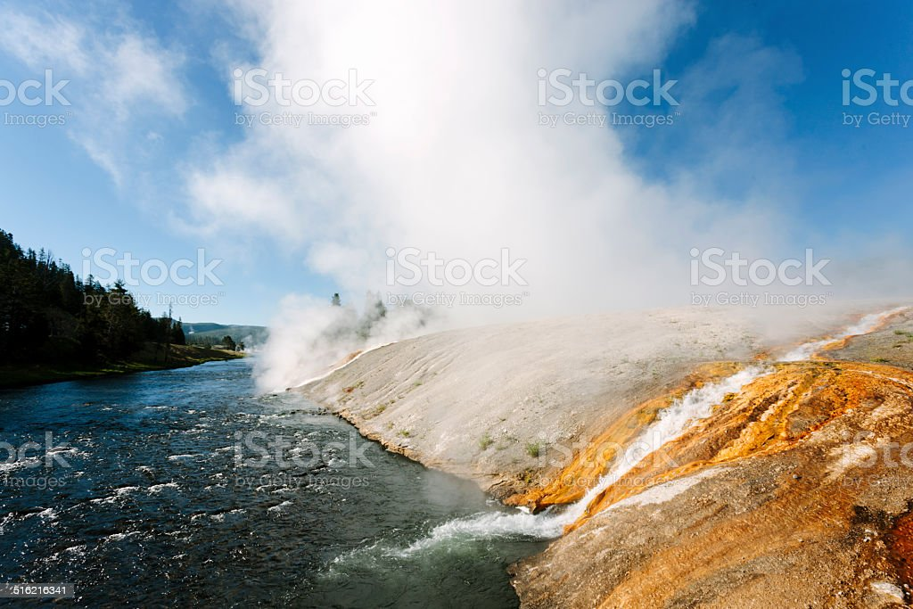 Grand Prismatic Springs, Firehole River stock photo