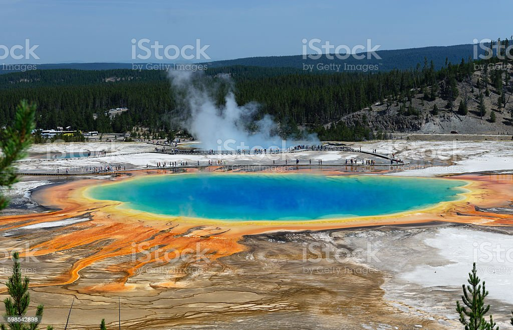 Grand Prismatic Springs Yellowstone National Park Wyoming stock photo