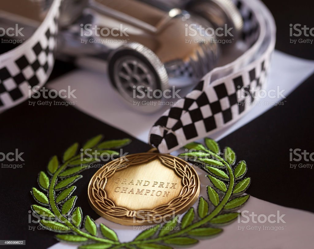Grand Prix Champion Racing Driver stock photo