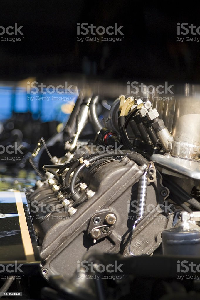 Grand Prix Engine Block from the 1970s, Black and Gold royalty-free stock photo